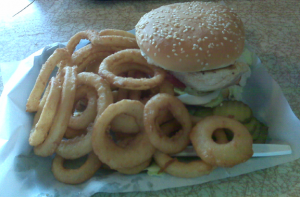 Chicken sandwich and onion rings.