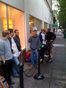 Line at the AT&T store to get the iPhone.